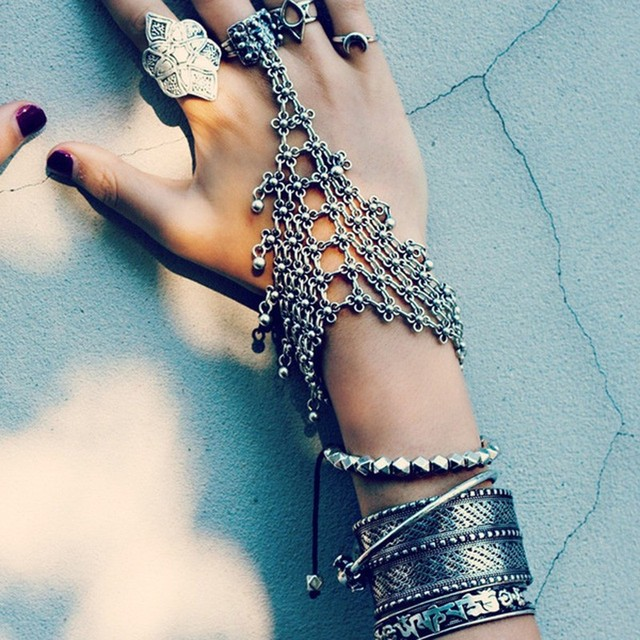Ztech Bohemia Silver Color Vintage Design Hippie Boho Bracelet Statement Pulseiras Femininas Bijoux Turkish Gypsy Tribal Jewelry 3