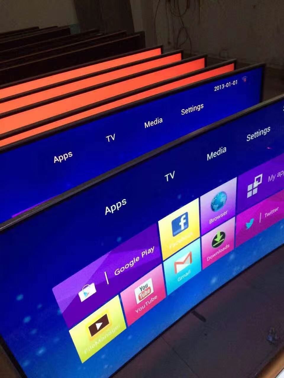 Customized OEM android TV 32 40 46 50 55 60 65 70 Inch Smart Android wifi/lan internet LCD HD LED TV television image