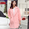 New Women Overcoat Tender Pink Big Pockets Casaco Feminino Winter And Autumn Jacket Women Coat Women~4683N