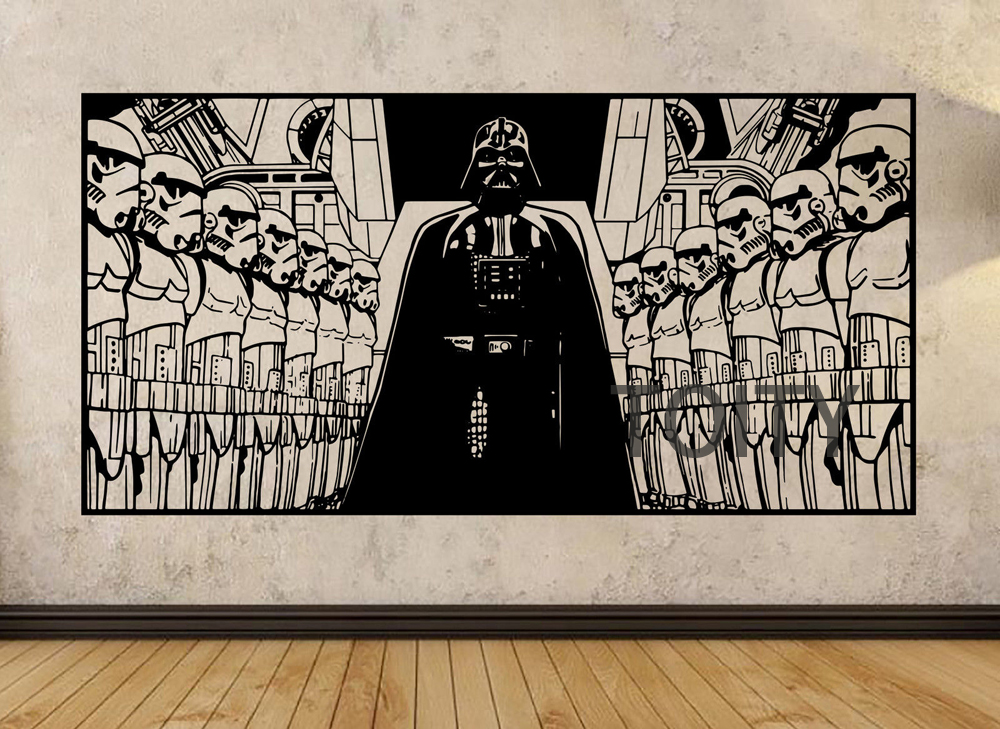 STAR WARS Poster Darth Vader and Storm Troopers Wall Art Sticker Film Decal Vinyl Mural Decor H57cm x W113cm