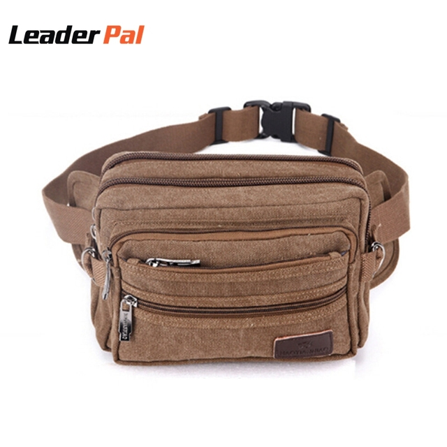 4 Colors Vintage Small Canvas Fanny Pack Travel Waist Bag Hip Purse Belt Bag Bum Bag Black/Khaia/Army green/Coffee 947