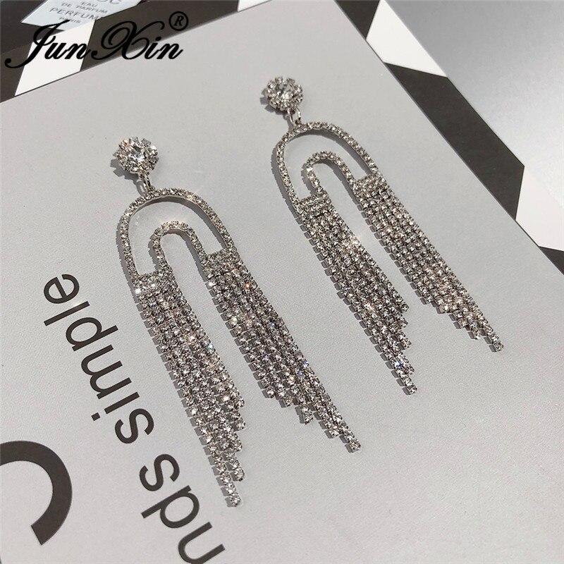 JUNXIN Female Crystal Long Tassel Earrings White Gold Yellow Gold Color White Zircon Bohemian CZ Wedding Drop Earrings For Women