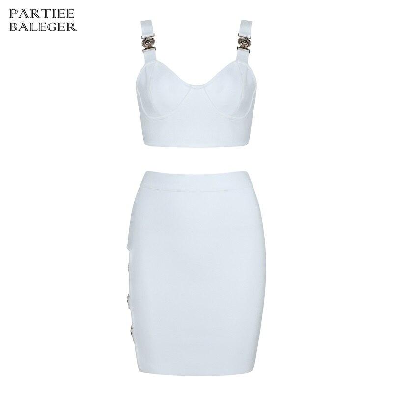 Celebrity 2019 Cou Manches En Party Bandage Nouvelle Arrivée À Robe Évider Sexy Blanc Pièces Conception De Métal Sans V Ensemble Deux La Mode rHTrqO7w