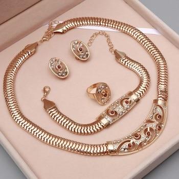 Dubai Gold Nigerian Wedding African Beads Crystal Bridal Jewellery Set 5