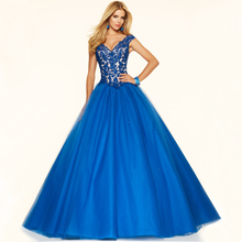 Vnaix PV602 V Neck Cap Sleeve Princess Elegant Long Formal Ball Gown Red Royal Blue Lace Prom Dresses 2015