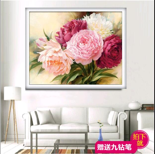 Needlework, DIY DMC Cross Stitch, sett for broderi sett, Peony Floral blomster mønstre Oljemaleri Cross-Stitch, bryllup Decro