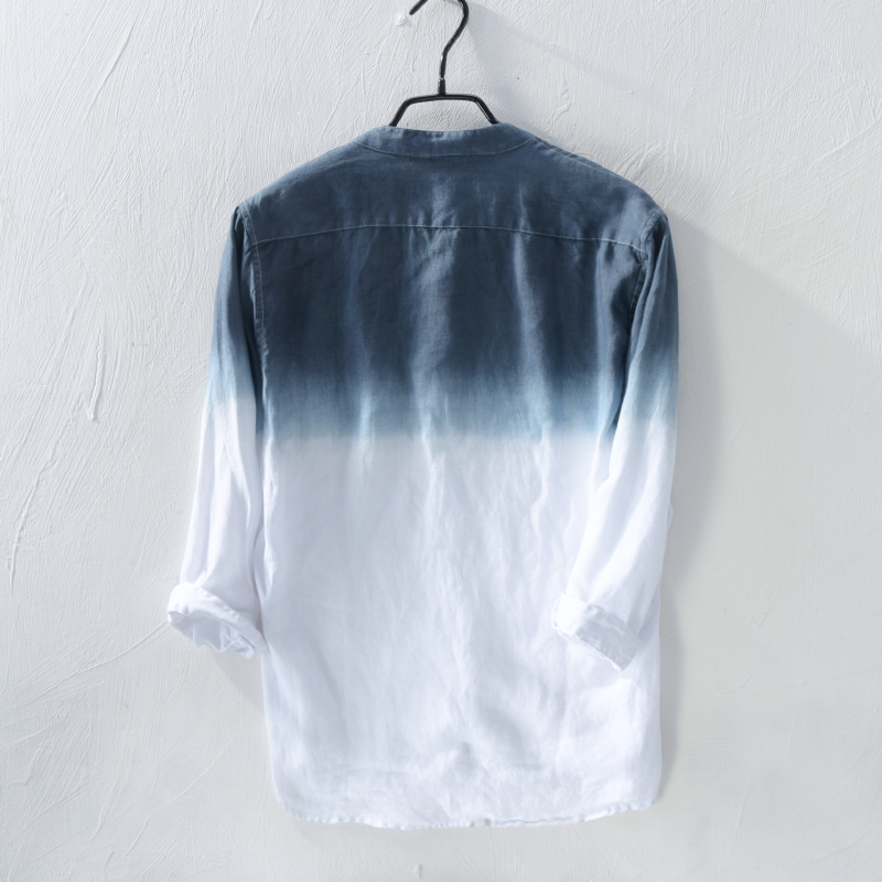 4e0644114fb 2018 pure linen shirt men s long sleeve summer thin section trend of youth  Slim gradient linen men s casual shirt-in Casual Shirts from Men s Clothing  on ...