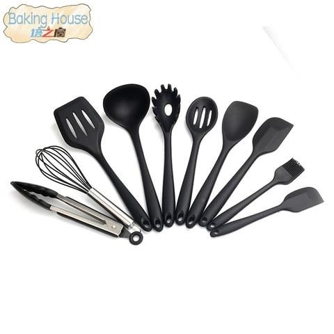 Cozinha do Agregado Ferramentas de Cozinha Utensílio de Cozinha de Silicone Resistente a Altas Familiar Cozinha Conjunto Temperaturas 10 Pçs – Set