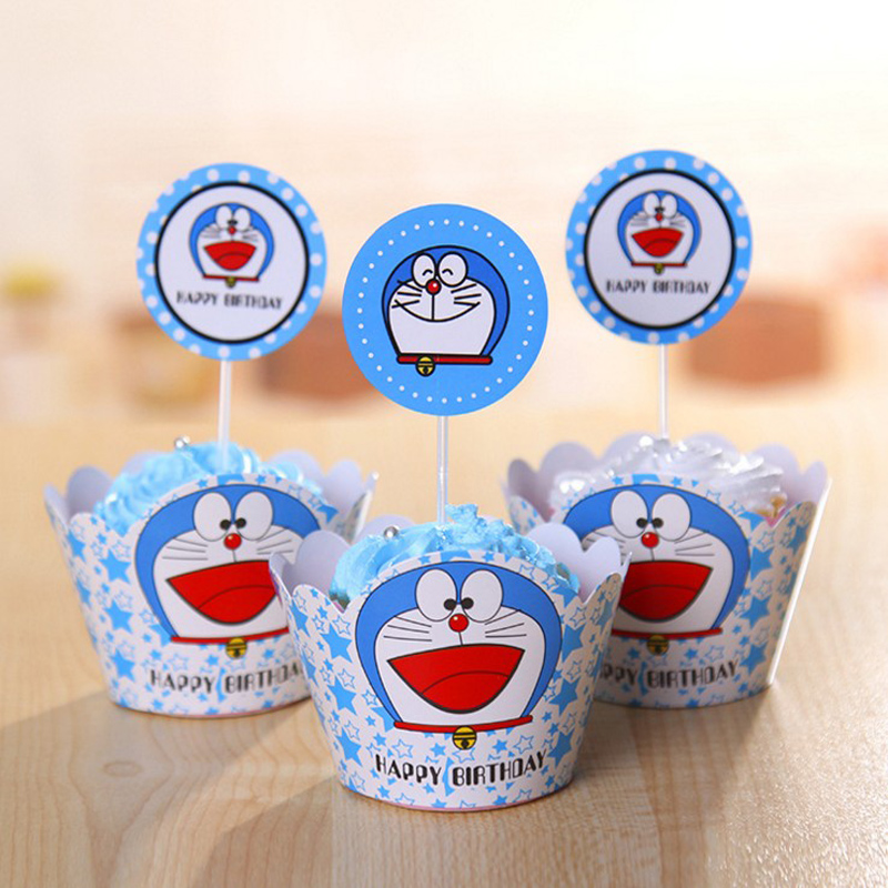 Wholesale Doraemon cupcake wrappers & toppers picks kids birthday party supplies Event & Party Supplies cake decration