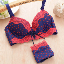 Girls gather cute peach heart sexy lace straps underwear thickness models adjustable bra suit