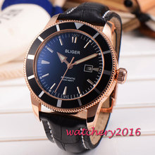46mm Bliger black dial golden case date adjust display coated glass Automatic self wind movement Men's Mechanical Wristwatches