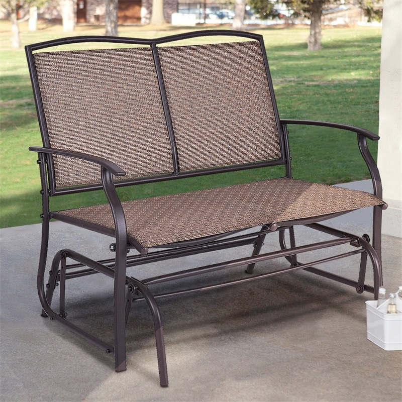 Simple Functional Stylish Patio Glider Rocking 2 Person Outdoor Bench Patio Furniture Offers Comfortable And Relaxation
