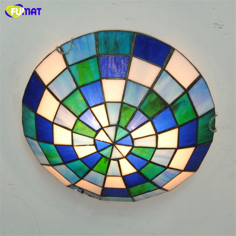 FUMAT Modern Tiffany Ceiling Lamps LED Blue +Green+White
