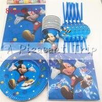 81 sztuk dzieci lubią Mickey mouse theme urodziny zaopatrzenie firm tkaniny tkanki papier pakowy materiał cup plate słomy słomy