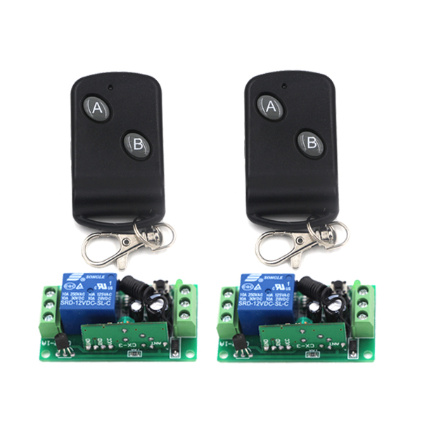 High Quality Black Mini Radio Wireless Remote Control Switch 2Receiver&2Transmitter with Button Small Size 315/433mhz wireless pager system 433 92mhz wireless restaurant table buzzer with monitor and watch receiver 3 display 42 call button