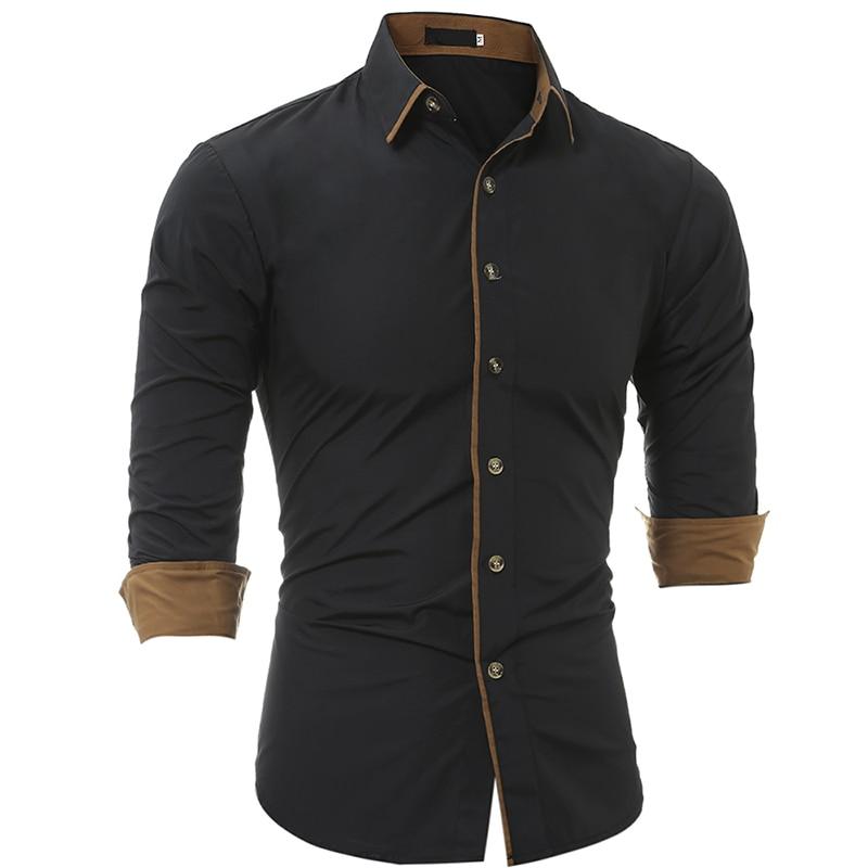 2019 High Quality New Men's Spring Casual Formal Slim Button-Down Long Sleeve Fashion Slim Dress Shirts Plus Size 3XL