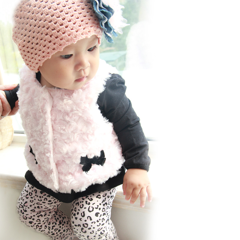 Retail  Baby Girls Clothes 3pcs Suit Infant Newborn Long Sleeves Cotton sets(Shirts+pants+vest)Toddler Baby Girl Clothing Set