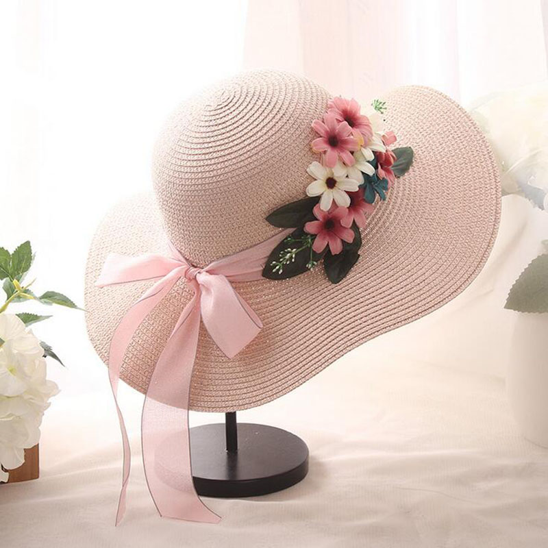New Arrival Double Flowers Weave Straw Hat Fashion Wide Brim Summer Hats Girl Women Outdoor Beach Hat Floral Bow Sun Hat