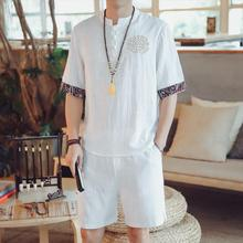 Loldeal Summer Short Sleeve Casual Cotton Mens Embroidered T-Shirt + Shorts Set