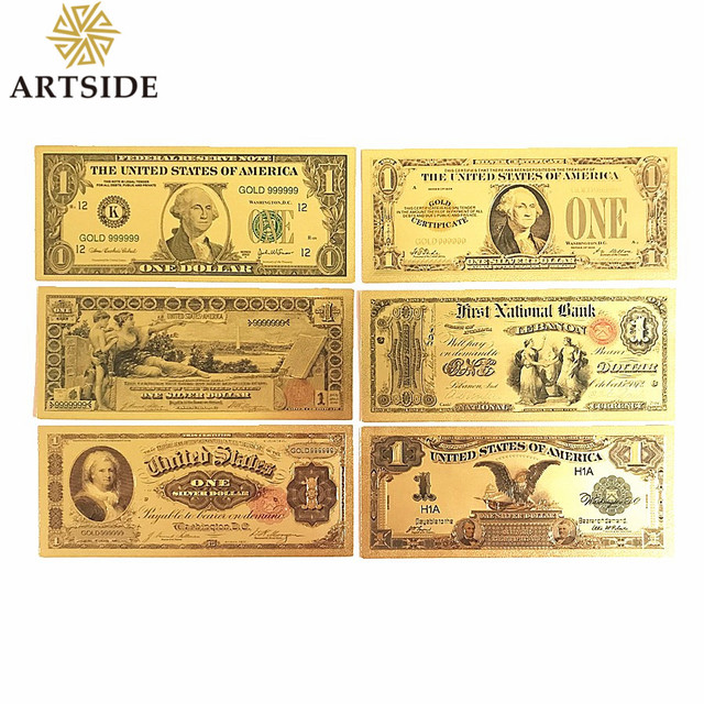 Diffe Types Usa 1 10 100 Dollar Gold Banknote Currency Bill Paper Money Coin 24k Note United States Of America