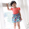 Bebé traje ropa de moda 100% algodón ropa de niña rosa Camisetas + faldas de la Flor del partido de alta calidad roupas infantis menina