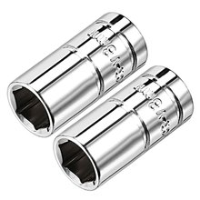 Uxcell 2Pcs 1/4-inch Drive 8mm Cr-V 6-Point Shallow Socket Mirror Chrome Plated Finish for Heavy-duty Pneumatic Tools Hot Sale