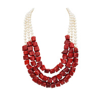 Lii Ji Natural Freshwater Pearl 7 8mm Dye Red Color Coral 3 Rows Necklace Jade Toggle