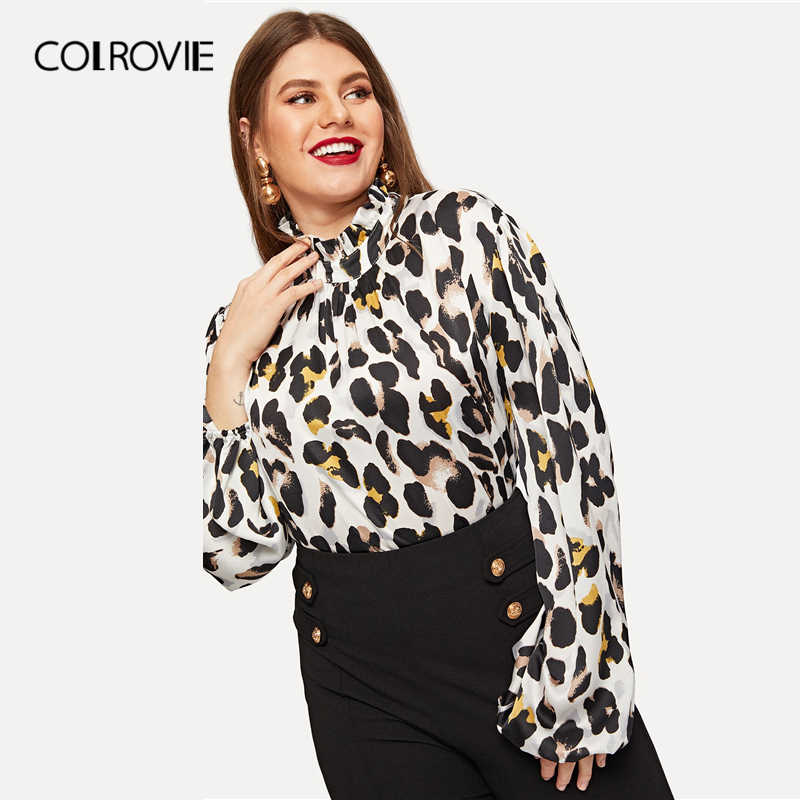 d8f54aa931af9 Detail Feedback Questions about COLROVIE Plus Size Stand Collar Leopard  Print Casual Blouse Women 2019 Spring Fashion Bishop Sleeve Button Elegant  Shirts on ...