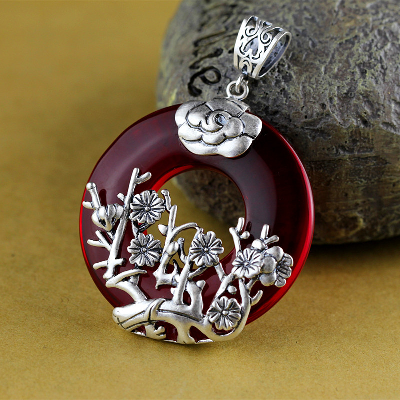 Real Pure 925 Silver Garnet Chalcedony Pendant For Women With Plum Blossom Ethnic Spiritual Meditation Jewelry