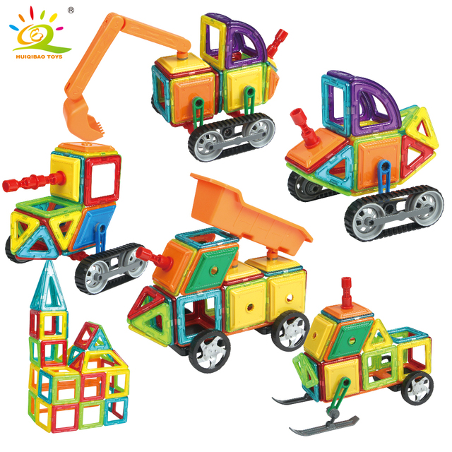 162pcs Engineering series Magnetic Designer Construction Set Building Blocks Toy Plastic Magnetic Bricks Educational Toy For Kid
