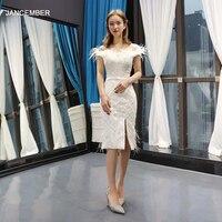 J66777H jancember коктейльные платья длиной до колена с открытыми плечами лодочкой шеи платье на выпускной вечер с пером слоновой кости abiye elbise