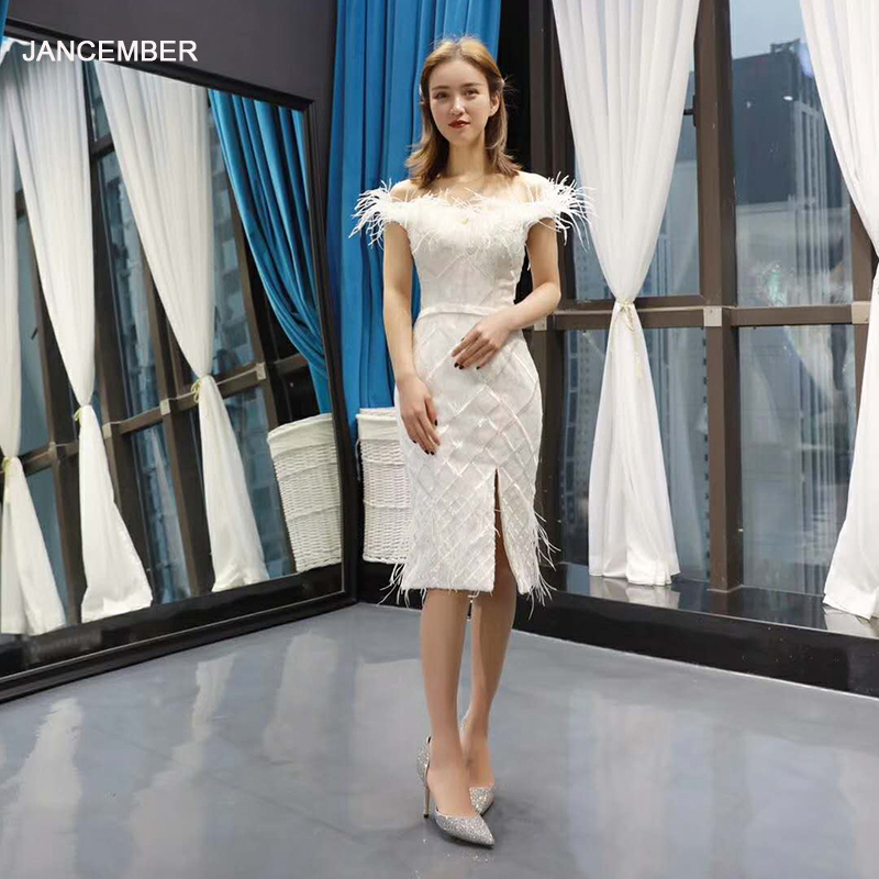 J66777H Jancember Knee-length Cocktail Dresses Off The Shoulder Boat Neck Graduation Party Dress With Feather Ivory Abiye Elbise