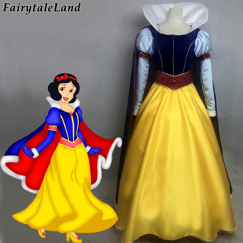 Princess Snow White cosplay costume Carnival Halloween costumes Dark Blue cloak Long sleeve snow white dress with diamond