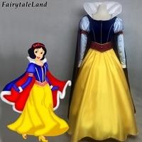 Princess Snow White cosplay costume Carnival Halloween costumes Dark Blue cloak Long sleeve snow white dress with diamond