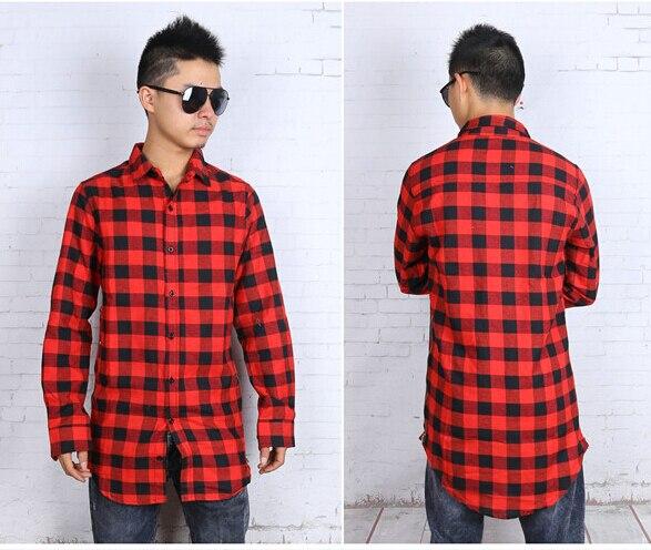 Hip hop mens dress shirt plaid shirts Long sleeve men shirts man extended  red and black plaid shirt bluemen camisa masculina on Aliexpress.com  ee49fd5db29