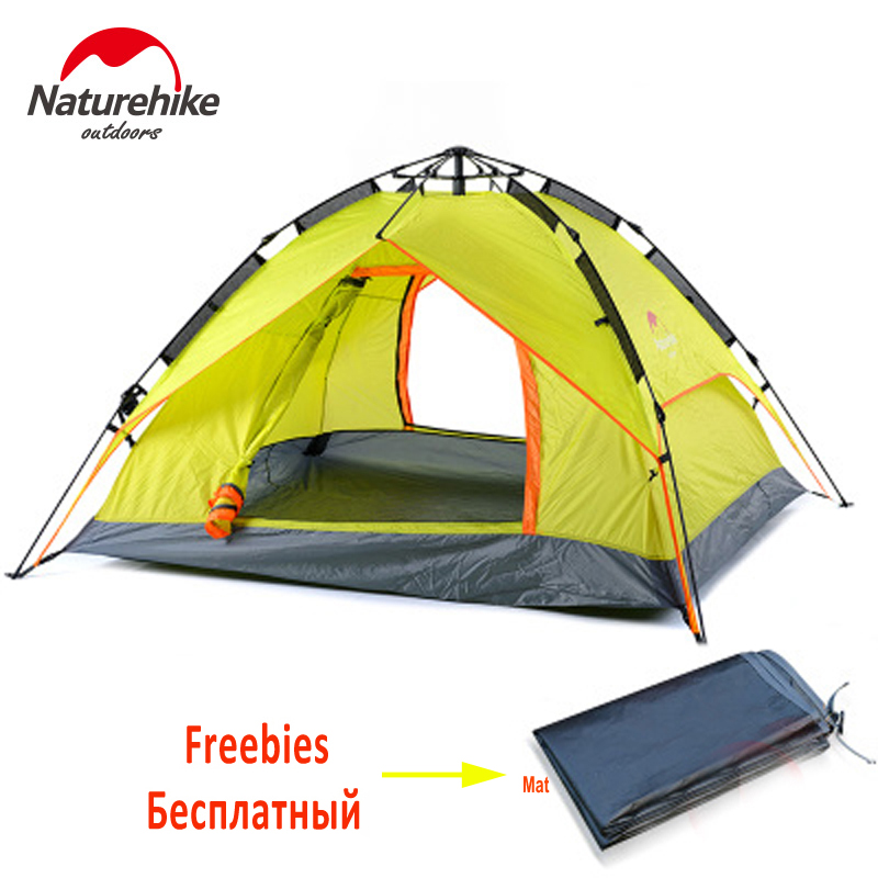 Naturehike Outdoor 3~4 person Camping Tent Oxford Fabric Instant Tent Waterproof Picnic Tents Quick Automatic Opening Tent shengyuan outdoor water resistant automatic instant setup two doors 3 4 person camping tent with canopy