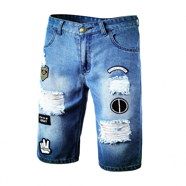 Blue Ripped Distressed Denim Short Jeans 4