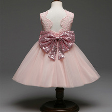 latest children dress designsToddler Baby Girl Princess party clothes tulle big Bow backless Children Dress