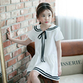 Cute Baby Girls Summer Clothing Cotton Short Sleeves Fashion Dress Sailor Collar Dress With Ribbons Decoration For Girls Party
