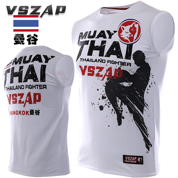 VSZAP MUAY THAI Martial Arts Fitness Tops Man Tshirt MMA Fight Top White Color