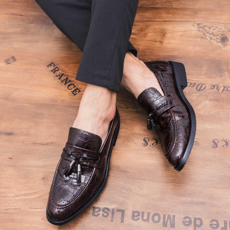 Hakiki Deri Erkek Elbise deri ayakkabı Lüks İtalyan Tarzı Resmi Ayakkabı Erkekler Ekose Timsah Derisi Elbise Ofis Düğün Ayakkabı
