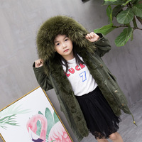 New Fashion Boys and Girls children's fur coat Winter Down Coat with a Large Fur Collar Rex Rabbit Fur Jacket Coat