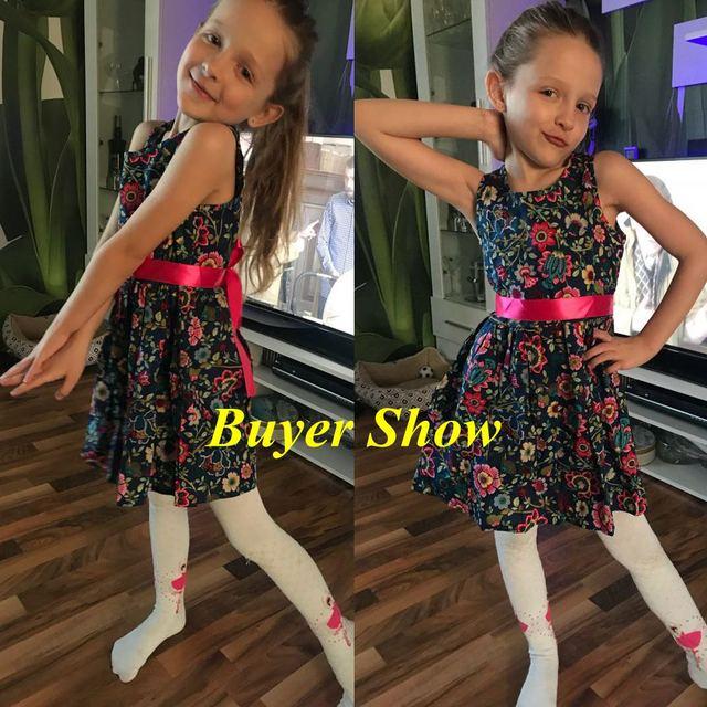 Floral Children Baby Dresses Girl Wedding Party;Princess 1 Year Birthday Girls Dress Cotton Summer 2017 Teenage Vestido Infantil