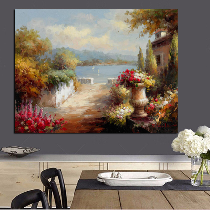 HD Print Abstract Mediterranean Sea Garden Landscape Oil Painting on Canvas Modern Sofa Poster Art Wall Picture for Living Room