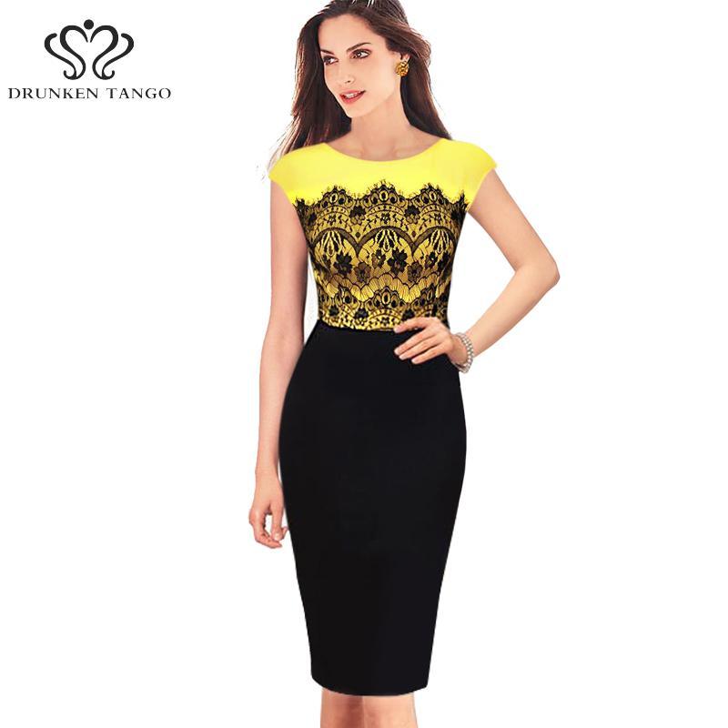Buy yellow pencil dresses