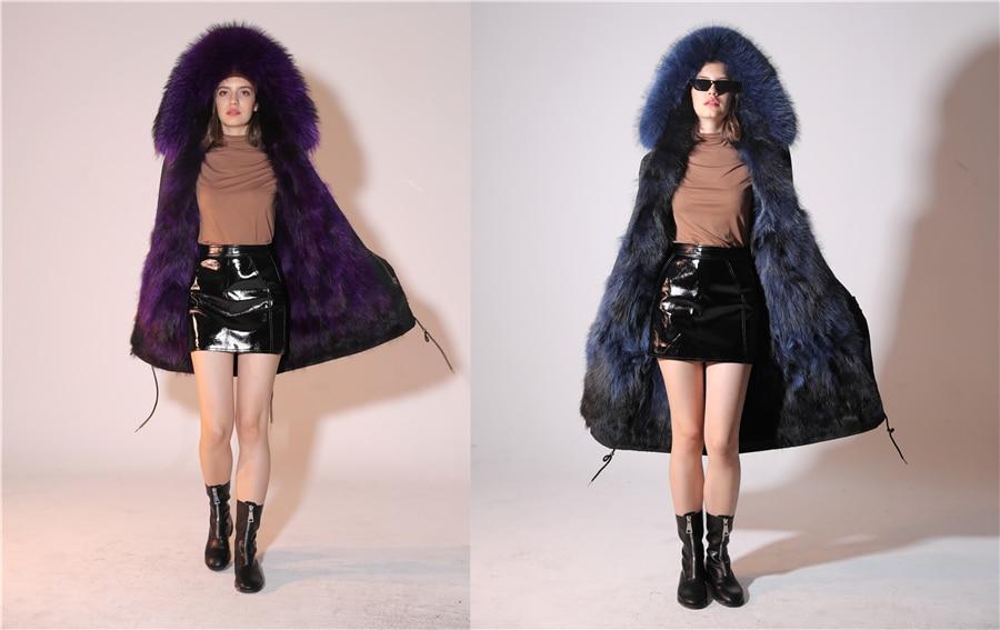 2019 Real Fur Coat Winter Jacket Women Long Parka Waterproof Big Natural Raccoon Fur Collar Hood Thick Warm Real Fox Fur Liner 35