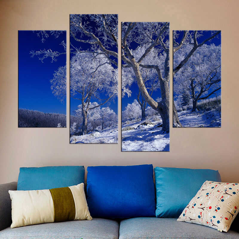 4 Pieces/set Posters And Prints Snow Tree Wall Art Canvas Painting Wall Pictures For Living Room Nordic Decoration