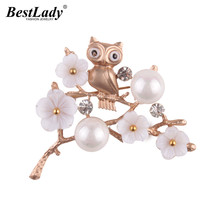 Best lady 2017 New Fashion Owl Flowers Brooch Pins Luxury Wedding Statement Jewelry Simulated Pearls Brooches Clip Scarf Bijoux