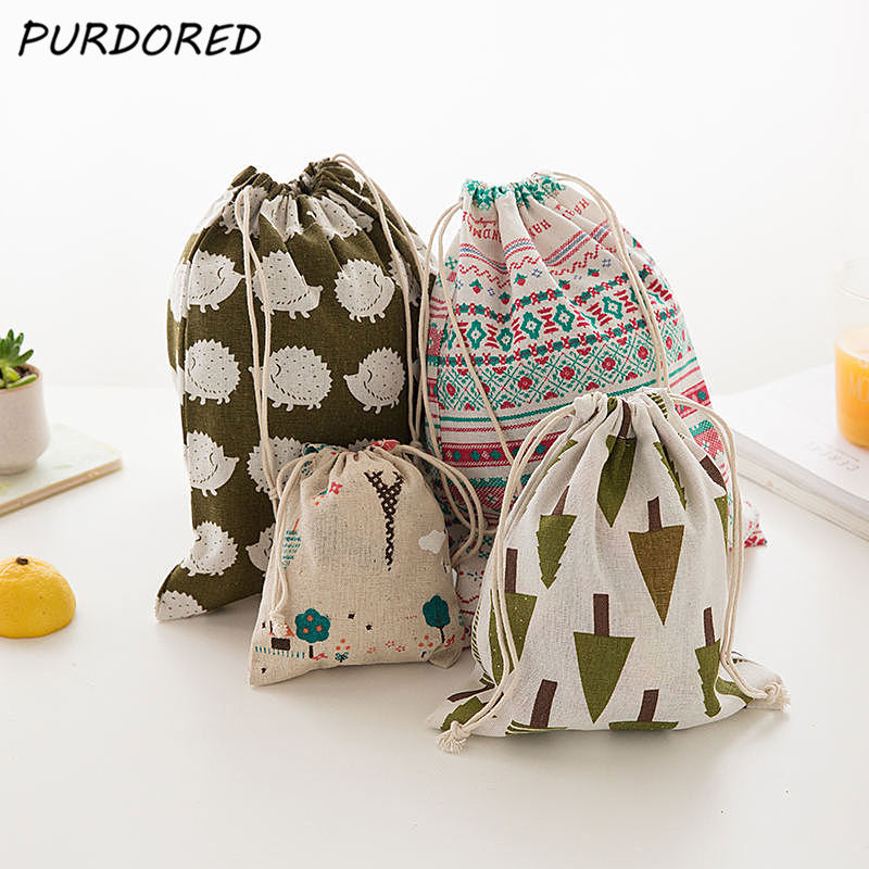 PURDORED 1 Pc Portable Drawstring Bags Travel Shoes Bag Pouch Storage Bag For Clothes Socks Underwear Housekeeping Dropshipping
