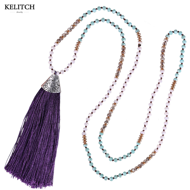 KELITCH Bohemian Turquoise Crystal Bead Long Necklace with Tassel 8lsg8DoA
